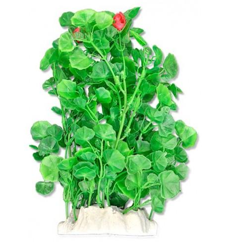 Dirbtinis augalas (krūmas raudonais žiedais), 20cm